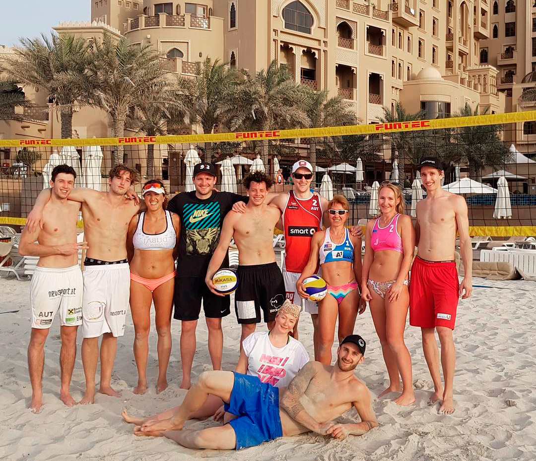 pro+am (professional plus amateur) beach volleyball camp in uae 2018